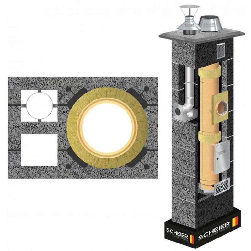Komin ceramiczny Scheier DUO Standard KW2 fi 200 + fi 80 14m
