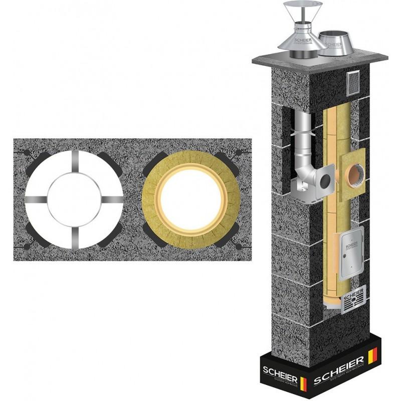 Komin ceramiczny Scheier Dual Uniwersal + Inox Fi 200 + 80 10m