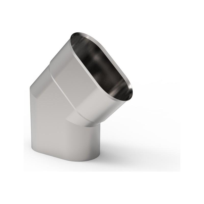 KO Kolano 45° owalne wąskie kwasoodporna 0,8 mm 120x210