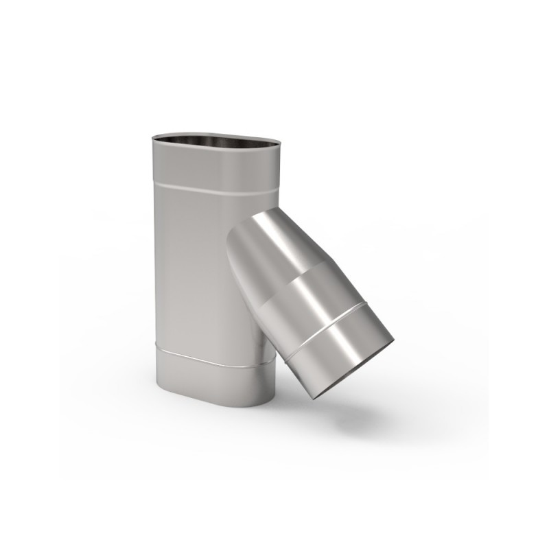 KO Trójnik 45° owalny wąski kwasoodporny 0,8 mm 110x185
