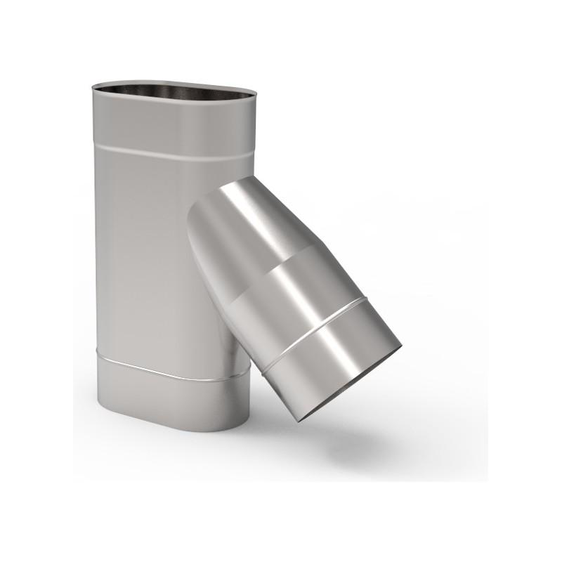 KO Trójnik 45° owalny wąski kwasoodporny 1,0 mm 120x180