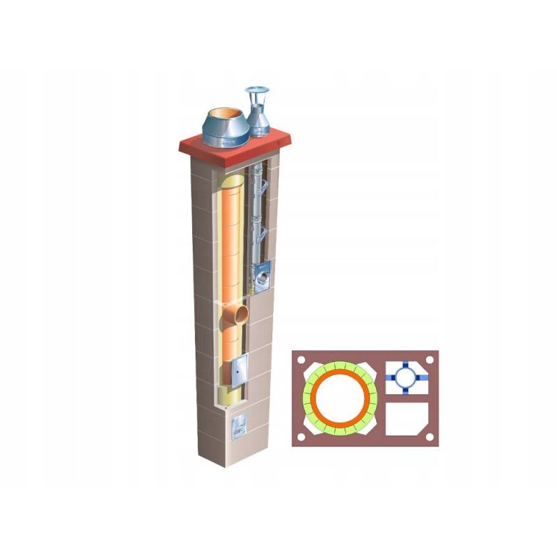 Komin podwójny z 1 wentylacją Brata Duo Premium Ferro Turbo K fi 80+160 15m gaz