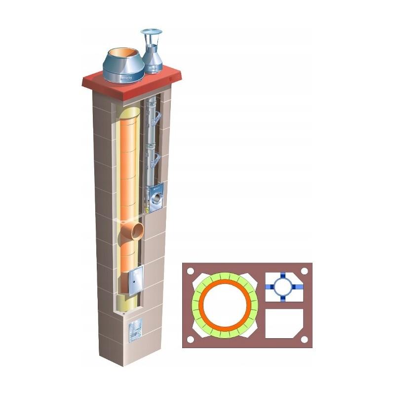 Komin podwójny z 1 wentylacją Brata Duo Premium Ferro Turbo K fi 80+180 14m gaz