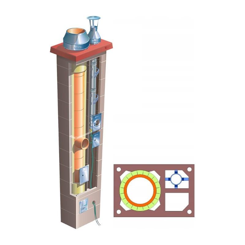 Komin podwójny z 1 wentylacją Brata Duo Uniwersal Ferro Turbo T fi 80+180 14m gaz