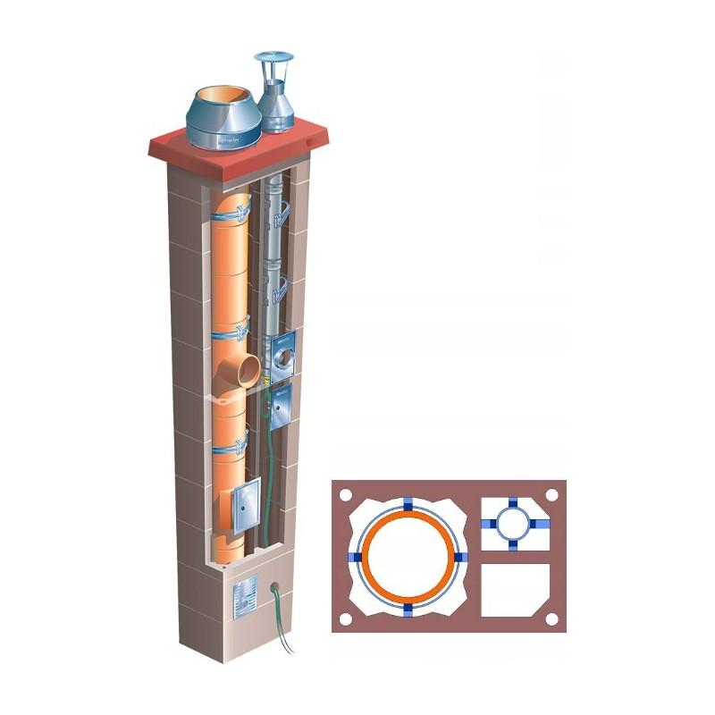 Komin podwójny z 1 wentylacją Brata Duo Standard Ferro Turbo T fi 80+180  6m gaz