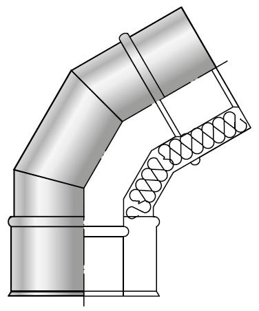 Kolano spalinowe kwasoodporne izolowane dwuścienne wkład kwasoodporny komin