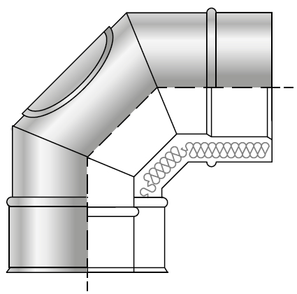 Kolano z wyczystką spalinowe kwasoodporne izolowane dwuścienne wkład kwasoodporny komin