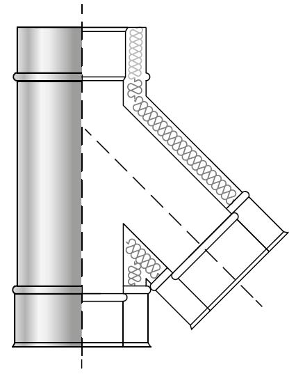 Trójnik spalinowy 45° kwasoodporny izolowany dwuścienny wkład kwasoodporny komin